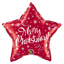 "Christmas Foil Balloon - Christmas Red Star (20"") 1pc"